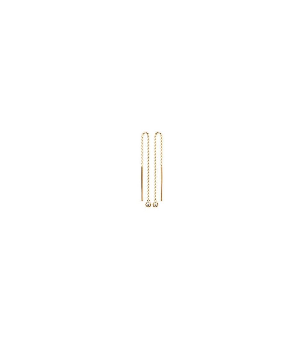 """Boucles d'oreilles """"traversantes"""" en plaqué or avec oxydes de zirconium à chaque extrémité"""