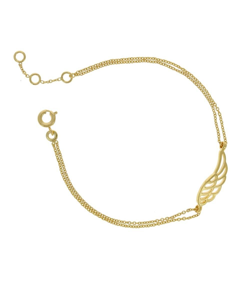 """Bracelet à double chaine au motif """"aile d'ange"""", en plaqué or, longueur 19,5 cm et réglable 18,5 cm et 17,5 cm"""