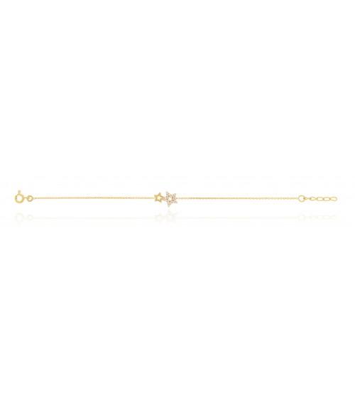 Bracelet double étoile dont l'une sertie d'oxydes de zirconium, en plaqué or, longueur 19 cm réglable à 17 cm