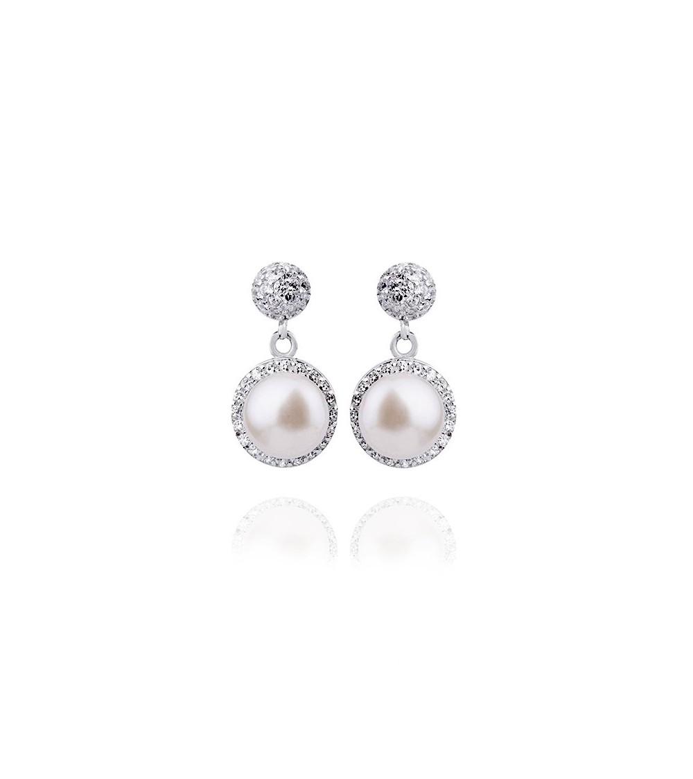 Boucles d'oreilles pendantes en argent 925/1000, perle  synthétique et oxydes de zirconium, à poussettes
