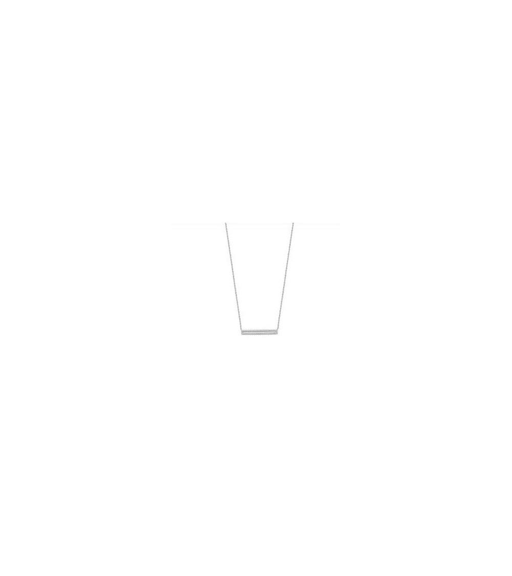 """Collier en argent 925/1000 rhodié """"rectangle"""" serti d'oxydes de zirconium, en longueur 45 cm ajustable à 42 cm"""