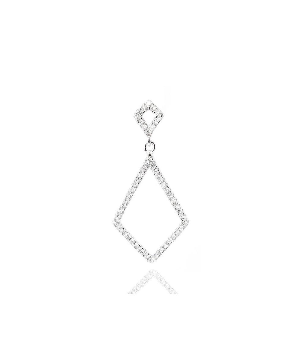 """Pendentif """"losange"""" seul en argent 925/1000 et oxyde de zirconium (voir chaine vendue séparément)"""