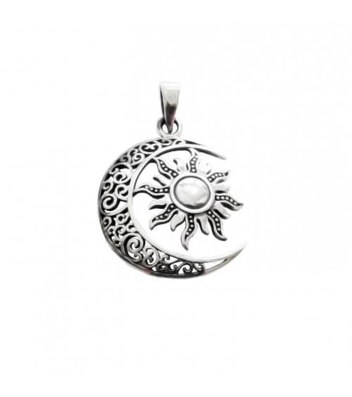 """Pendentif seul """"lune et soleil"""" en argent 925/1000 (voir chaine vendue séparément)"""