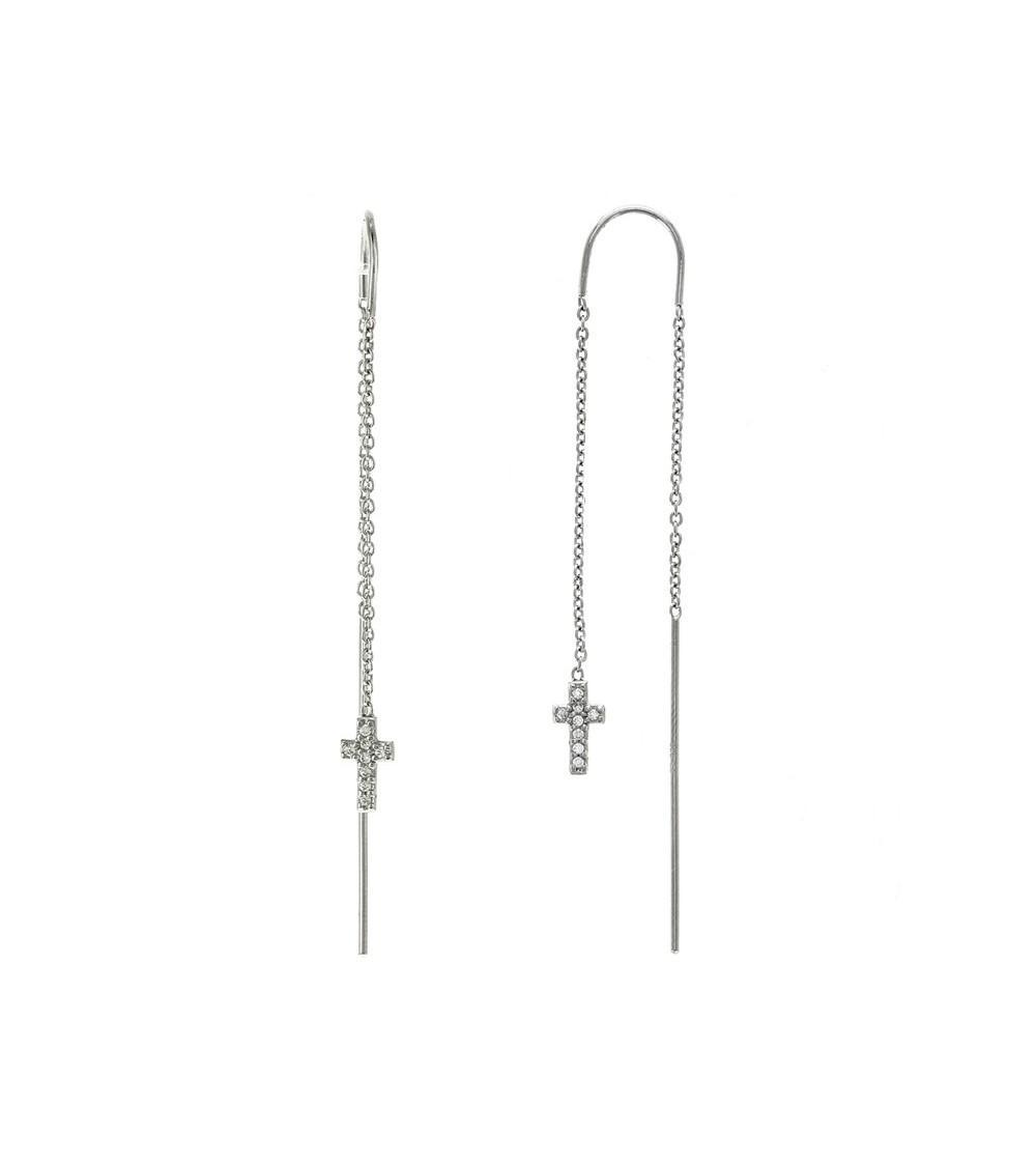 Boucles d'oreilles traversantes en argent 925/1000 rhodié avec croix serties d'oxydes de zirconium