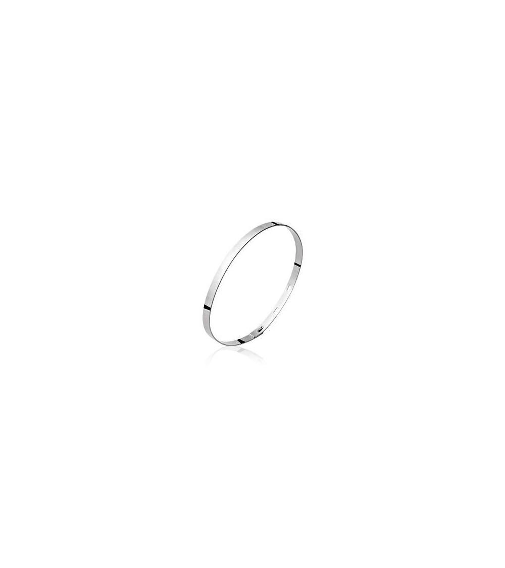 Bracelet rigide avec fermeture à 3 crans, en argent 925/1000 rhodié