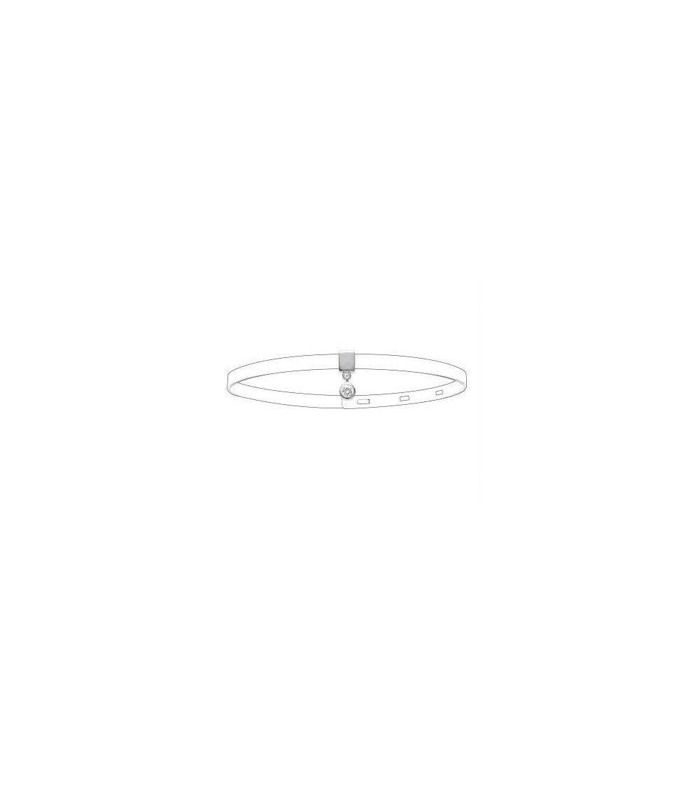 Breloque en argent 925/1000 rhodié et oxyde de zirconium adaptable sur bracelet référencé G154AR