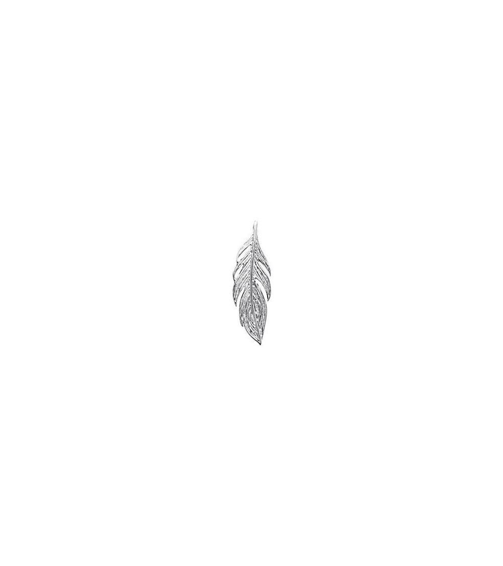 """Pendentif """"plume"""" seul en argent 925/1000 rhodié (voir chaine vendu séparément)"""