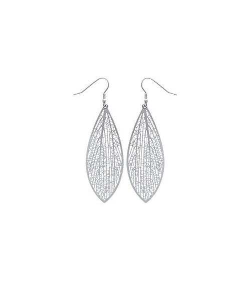 """Boucles d'oreilles ovales """"dentelle"""" en acier à crochets"""