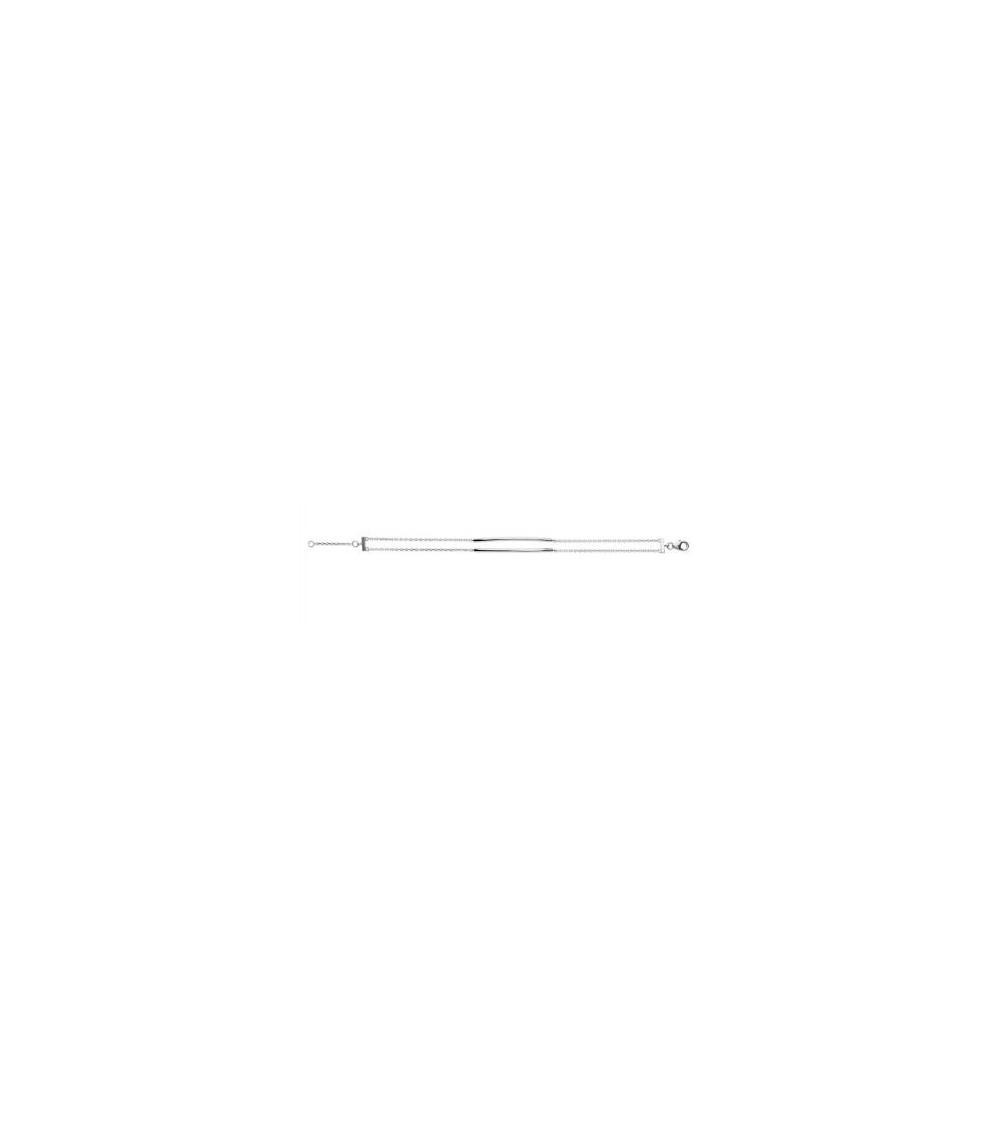 Bracelet double chaine et double barre incurvée en argent 925/100 rhodié, longueur 18 cm