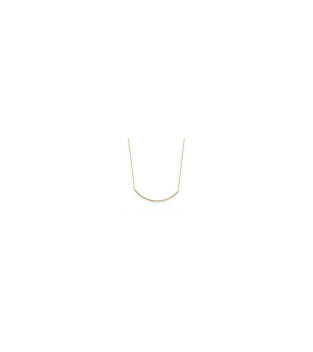 Collier avec barre icurvée en plaqué or, en longueur 45 cm, ajustable à 42 cm, et 40 cm