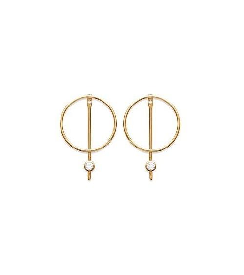 Boucles d'oreilles avec anneau barré surmonté d'un oxyde de zirconium, en plaqué or, avec poussettes