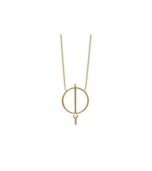 Collier avec un anneau barré surmonté d'un oxyde de zirconium, en plaqué or, longueur 45 cm ajustable à 42 cm et 40 cm