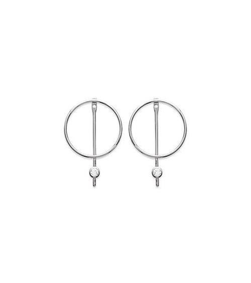 Boucles d'oreilles avec anneau barré surmonté d'un oxyde de zirconium, en argent 925/1000 rhodié, avec poussettes