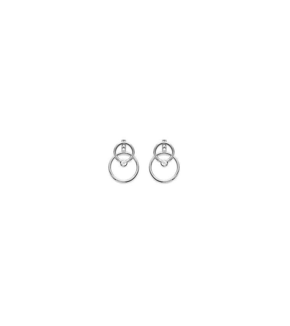 Boucles d'oreilles double anneau dont 1 avec zirconium, en argent 925/1000 rhodié, avec poussettes