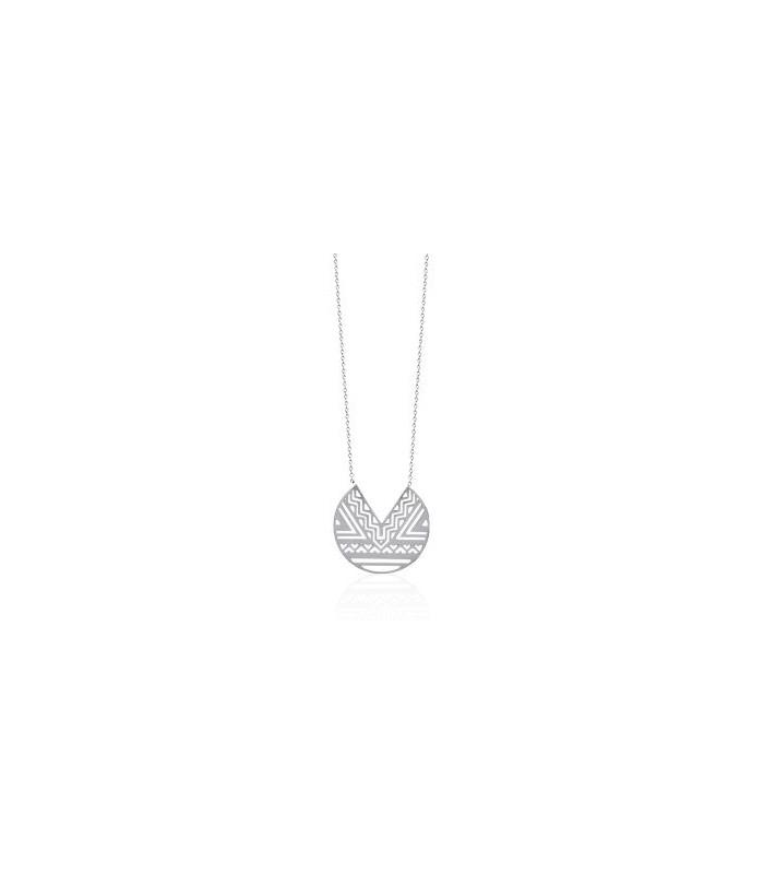 Collier à motif aztèque en acier en longueur 45 cm ajustable