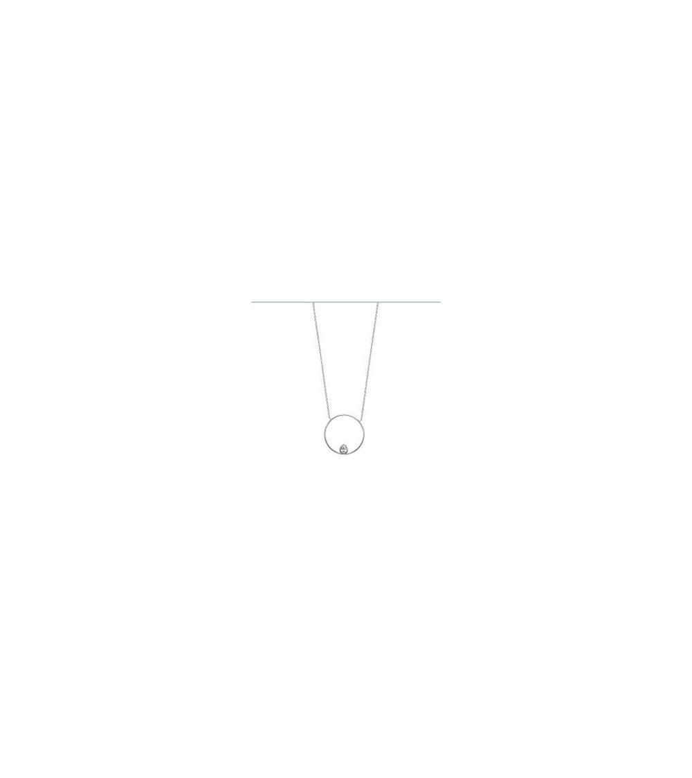 Collier en argent 925/1000 rhodié avec goutte en oxyde de zirconium, dans un anneau, en longueur 45 cm ajustable en 42 cm