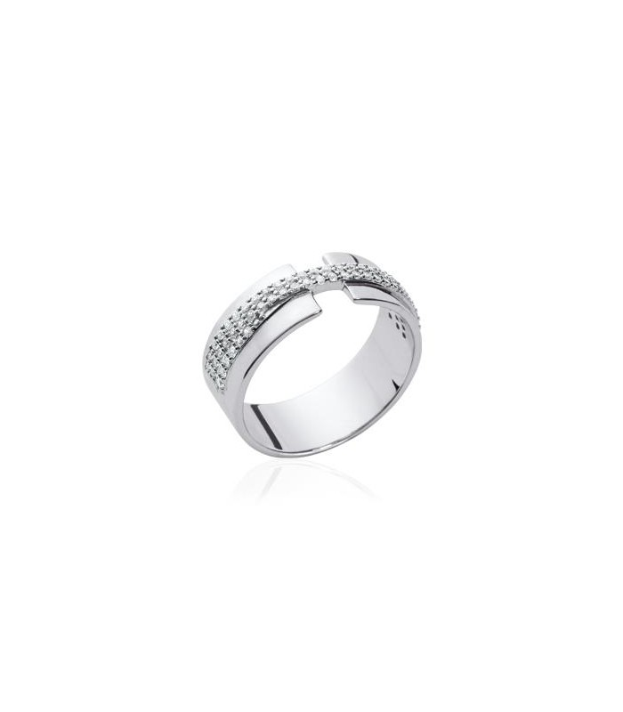 Bague anneau ouverte en argent 925/1000 surmontée de 3 rangs entrecroisés d'oxydes de zirconium