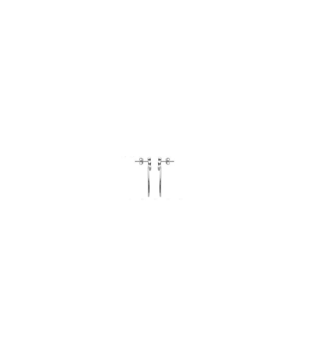 Boucles d'oreilles en argent 925/100 rhodié, avec anneau surmonté de 3 oxydes de zirconium