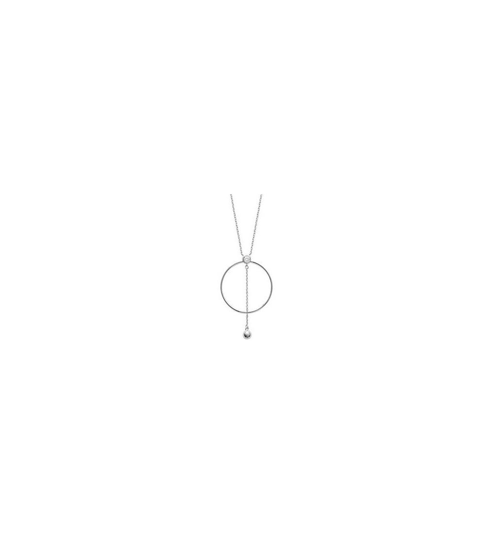 Collier en argent 925/1000 rhodié avec un anneau surmonté d'un oxyde de zirconium, chainette et boule