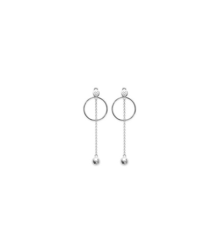 Boucles d'oreilles en argent 925/1000 rhodié, avec anneau surmonté d'un oxyde de zirconium, chainette et boule
