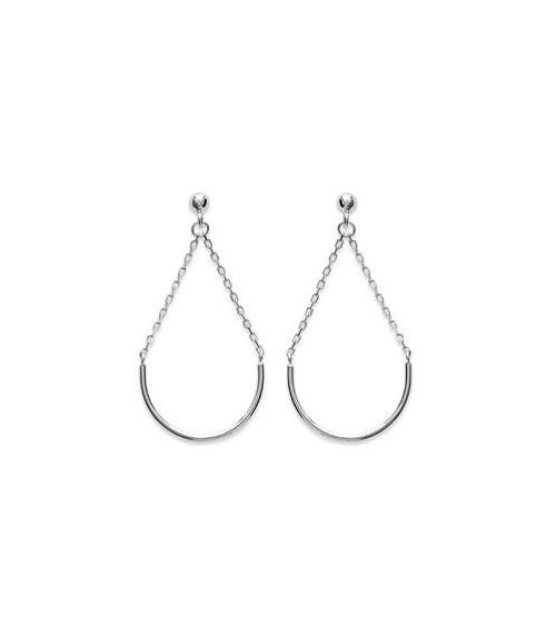 Boucles d'oreilles demi cercle et chainette en argent 925/1000 rhodié, avec poussettes