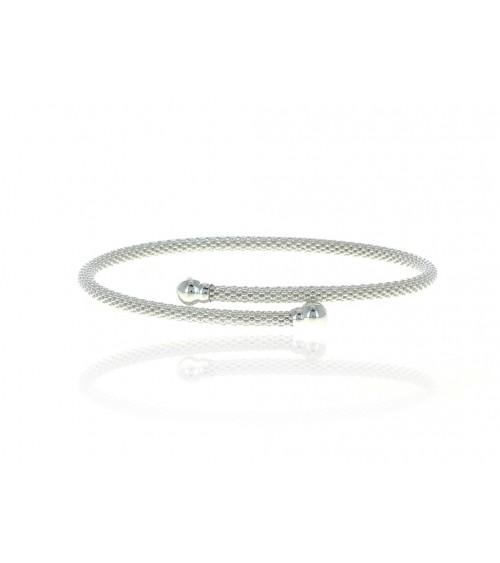 Bracelet ouvert à picots en argent 925/1000 avec à chaque extrémité une boule