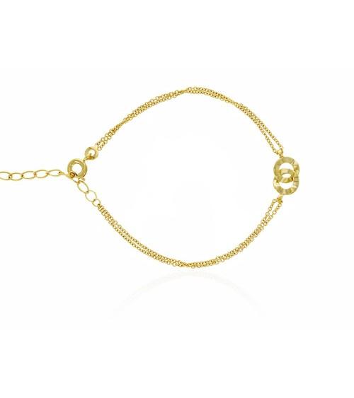 Bracelet à double chaîne et double anneau entrelacé à effet martelé en plaqué or (longueur  16 cm ajustable à 19 cm)