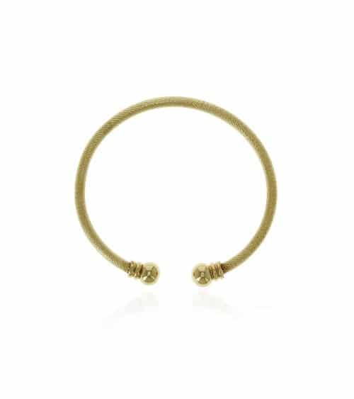 Bracelet rigide ouvert en plaqué or avec à chaque extrémité une boule (diamètre 56 cm)
