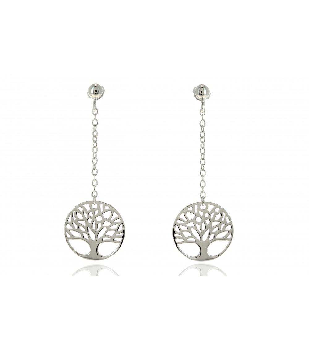 """Boucles d'oreilles pendantes """"arbre de vie"""", en argent 925/1000 rhodié, à poussettes"""