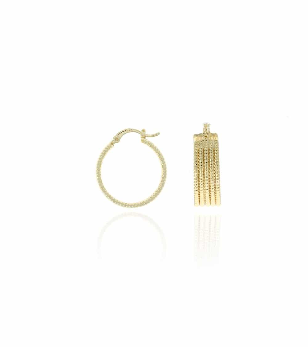 Boules d'oreilles 5 fils brillants en plaqué or
