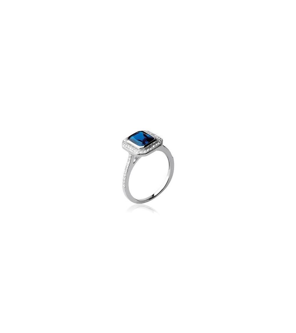 Bague carrée en argent 925/1000 rhodié avec oxydes de zirconium blancs et bleu