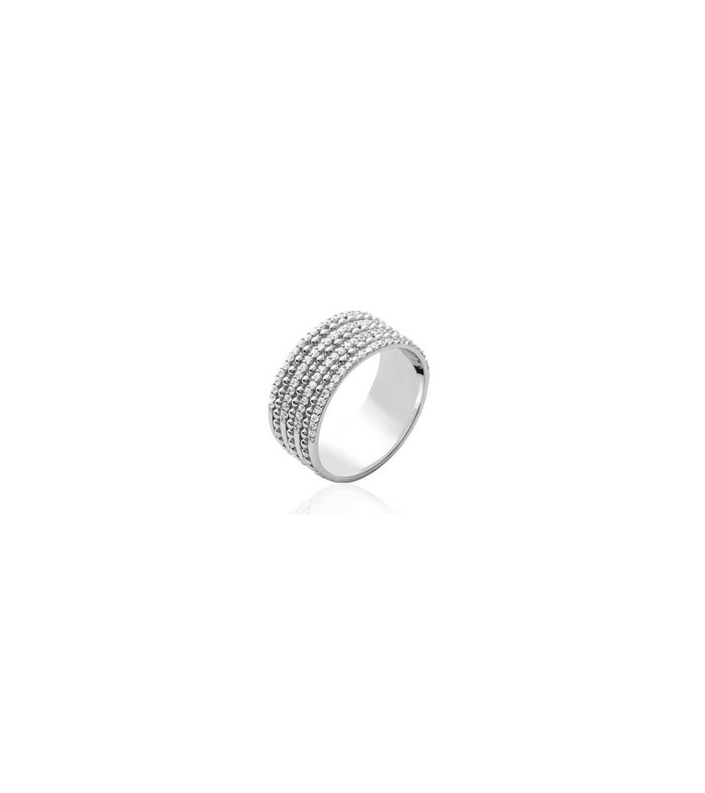 Bague anneau en argent 925/1000 rhodié avec 3 rangs d'oxydes de zirconium surmontés de picots