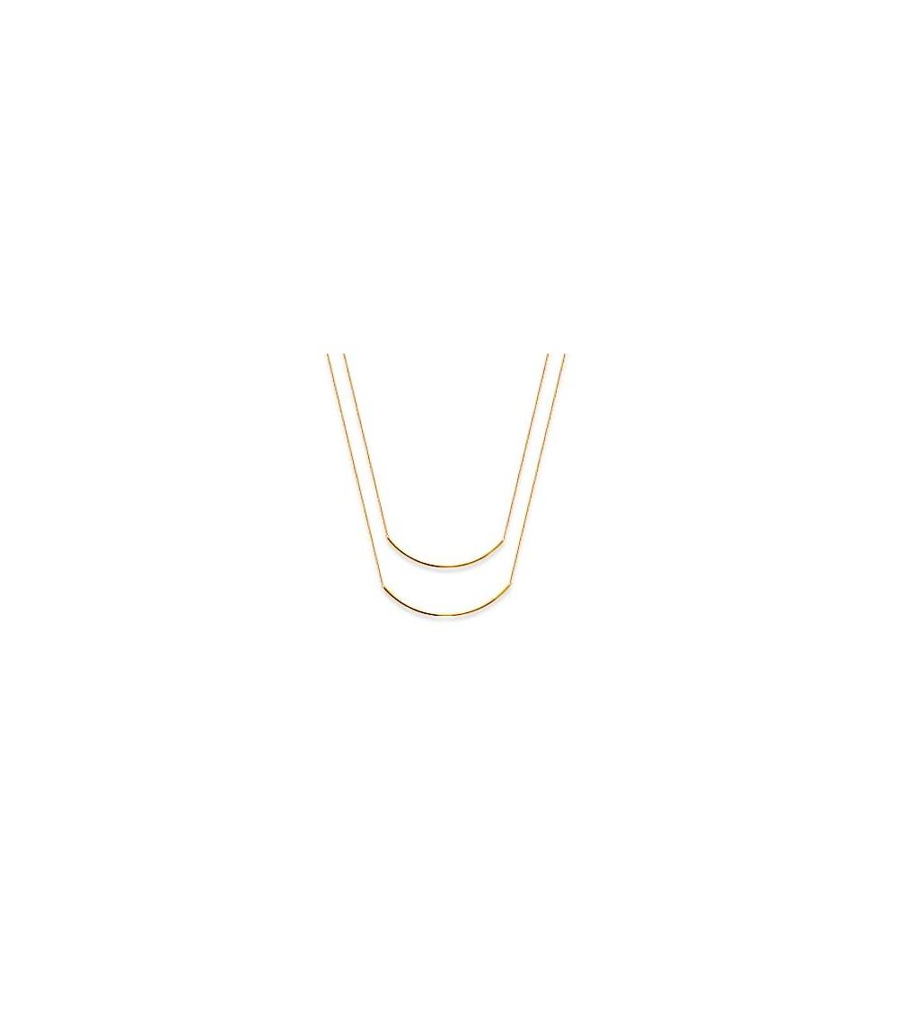 Collier double (2 en 1) barre incurvée,  en plaqué or (longueur 45 cm ajustable à 42 cm)