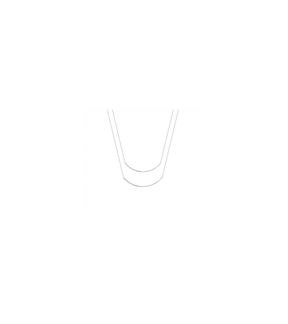 Collier double (2 en 1) barre incurvée en argent 925/1000 rhodié (longueur 45 cm ajustable à 42 cm)