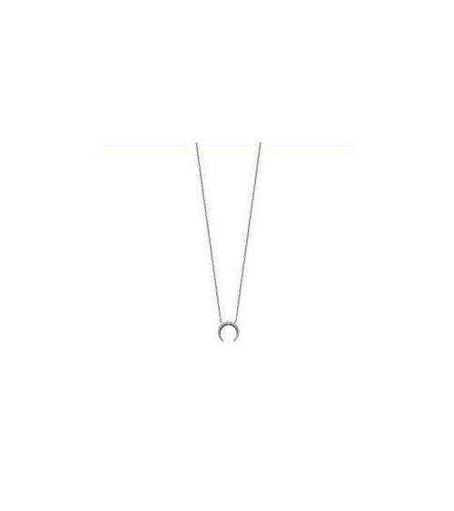 """Collier """"lune"""" en argent 925/1000 rhodié avec en son centre 3 oxydes de zirconium (longueur 45 cm ajustable à 42 cm)"""