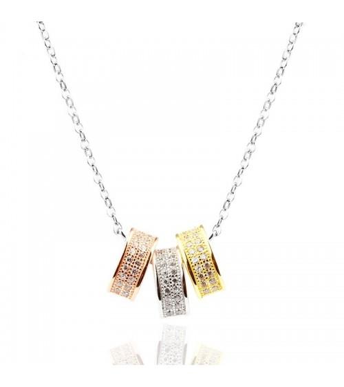 Collier en argent 925/1000 rhodié 3 couleurs (rosé, doré et argent) en longueur 45 cm