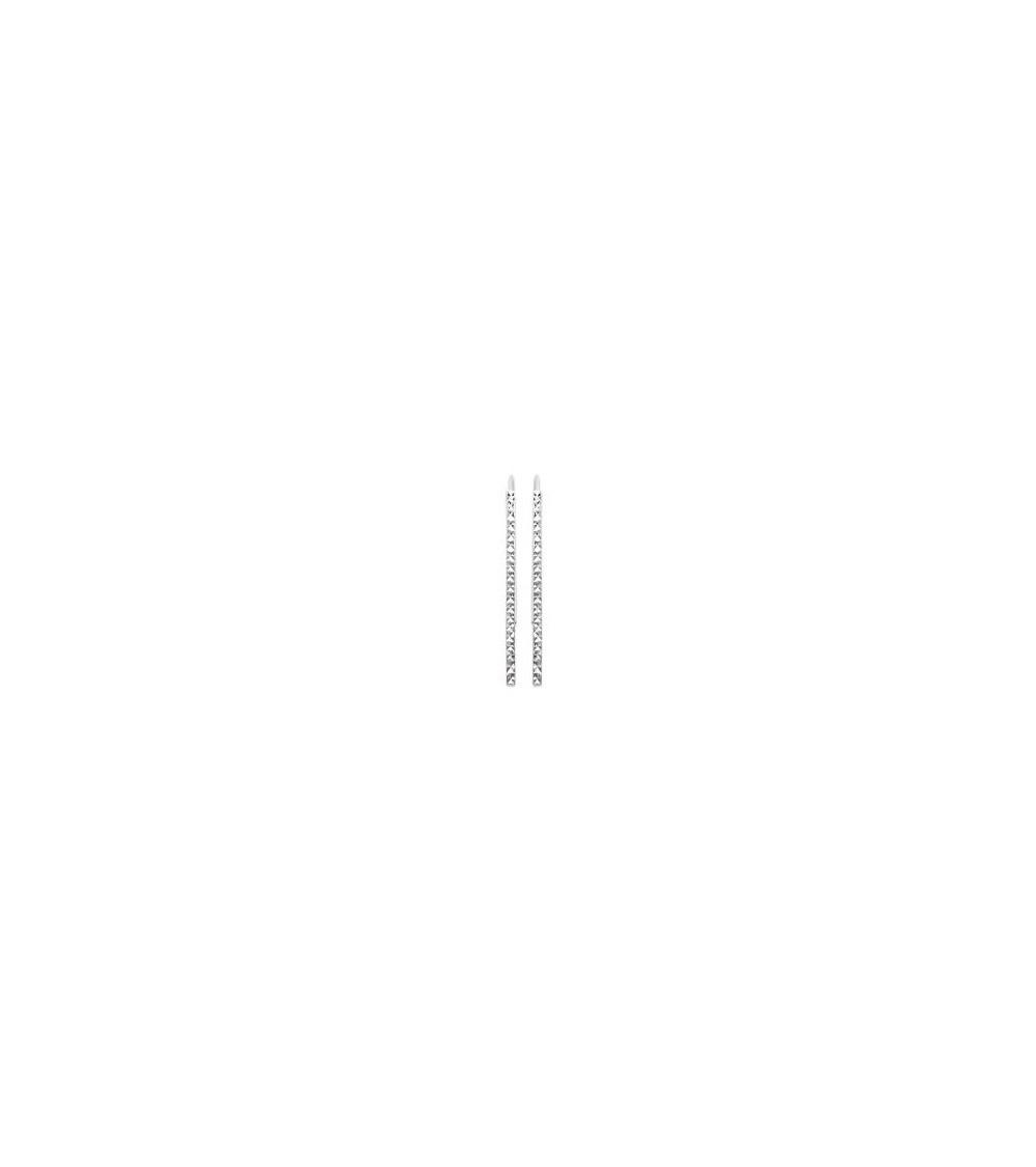 Boucles d'oreilles barre verticale facettée, à longs crochets, en argent 925/1000 rhodié