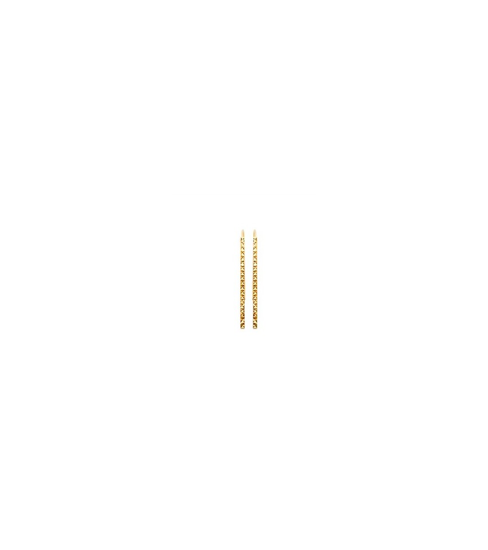 Boucles d'oreilles barre verticale facettée, à longs crochets, en plaqué or