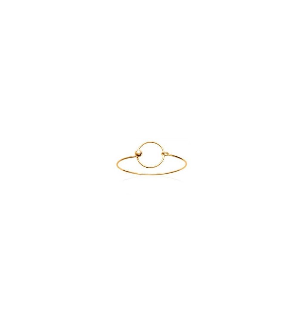 Bracelet rigide en plaqué or avec rond surmonté d'une boule