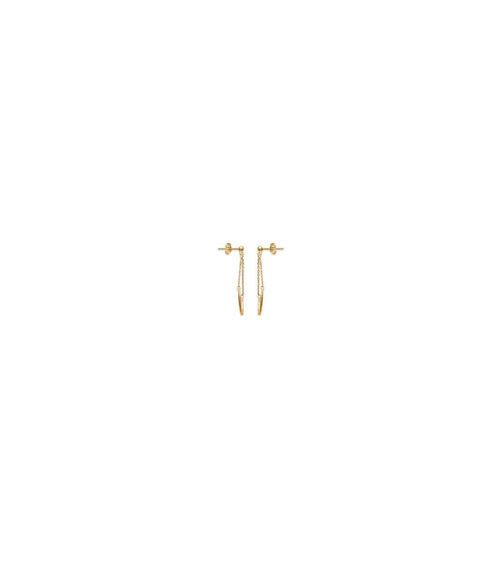 Boucles d'oreilles demi cercle et chaînette en Plaqué or, avec poussettes