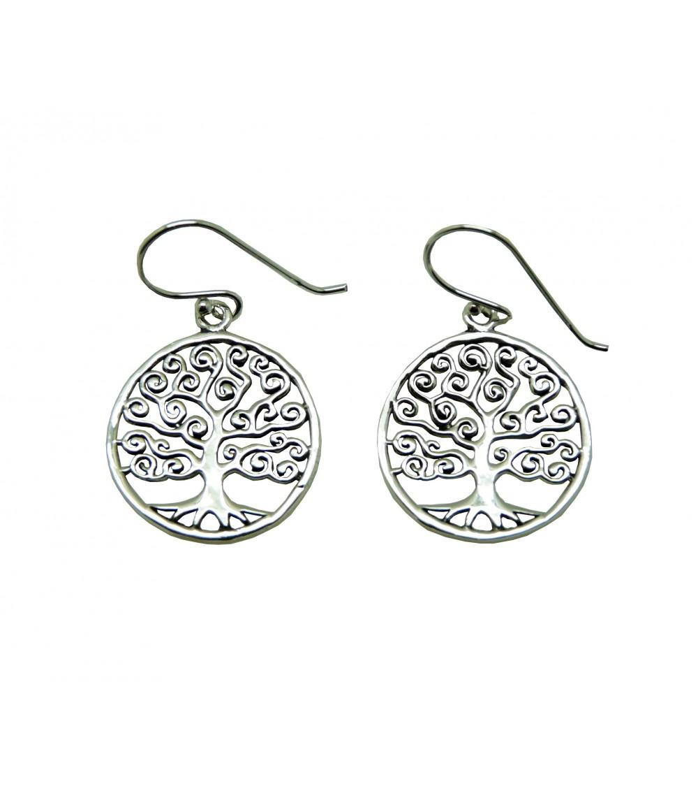 """Boucles d'oreilles """"arbre de vie"""" en argent 925/1000, à crochets"""