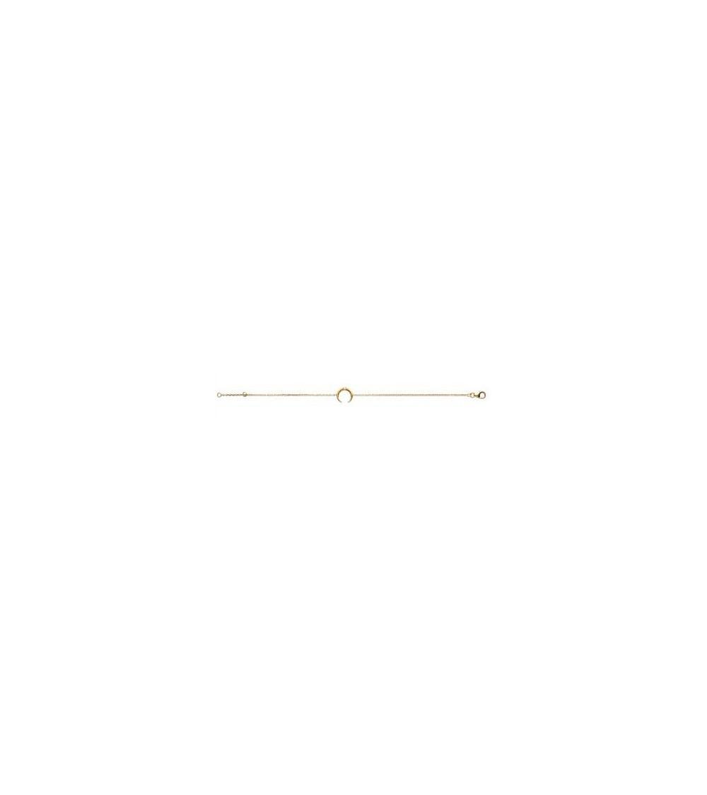 """Bracelet """"lune"""" en plaqué or et oxydes de zirconium en son centre ( longueur 18 cm ajustable à 16 cm)"""