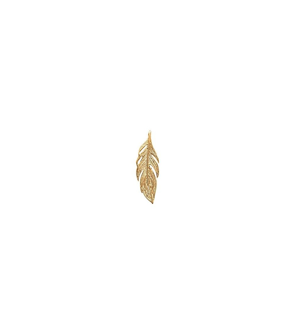 """Pendentif """"plume"""" en plaqué or (voir chaîne vendue séparément)"""