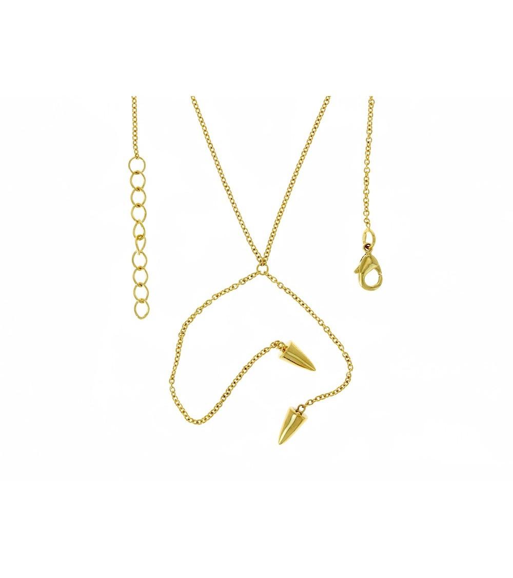 Collier en plaqué or en Y avec à chaque extrémité un cône (longueur 43 cm + 3 cm ajustable)