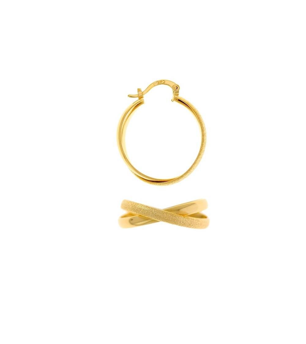 Boucles d'oreilles créoles croisées en plaqué or, un côté lisse, un côté brillant