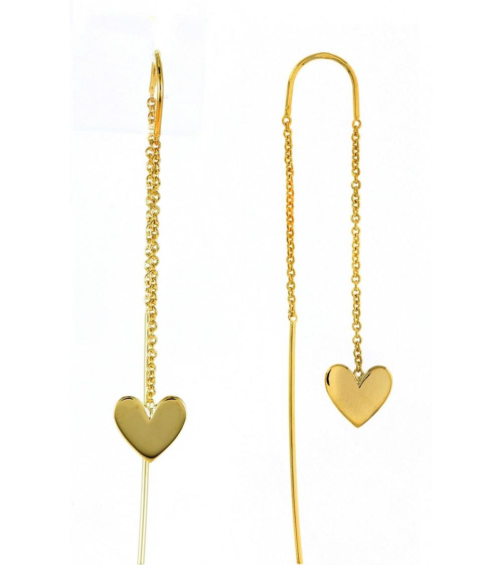 """Boucles d'oreilles """"traversantes"""" """"cœur"""", en plaqué or"""