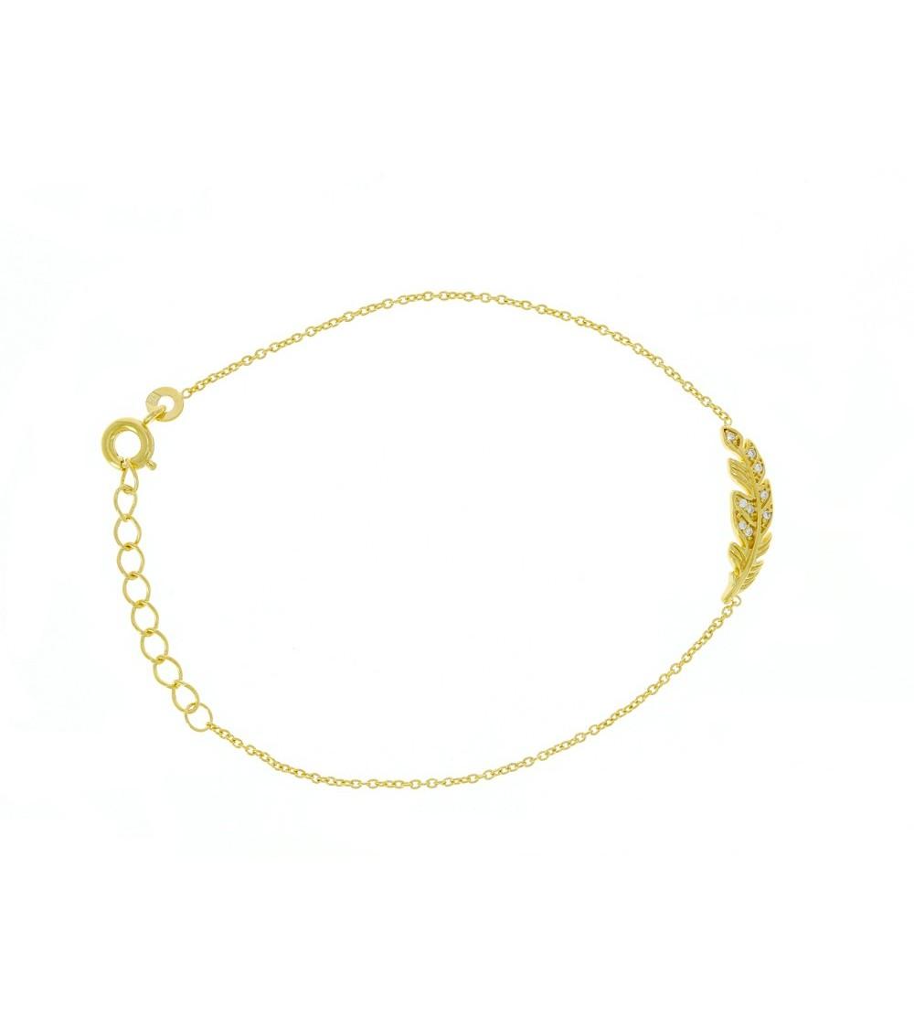 """Bracelet """"plume"""" en plaqué or et oxyde de zirconium en longueur  17 cm + 3 cm ajustable"""