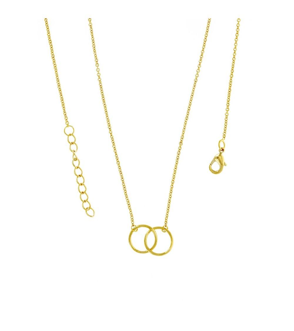 Collier double anneau entrecroisé en plaqué or, en longueur 45 cm ajustable à 42 cm