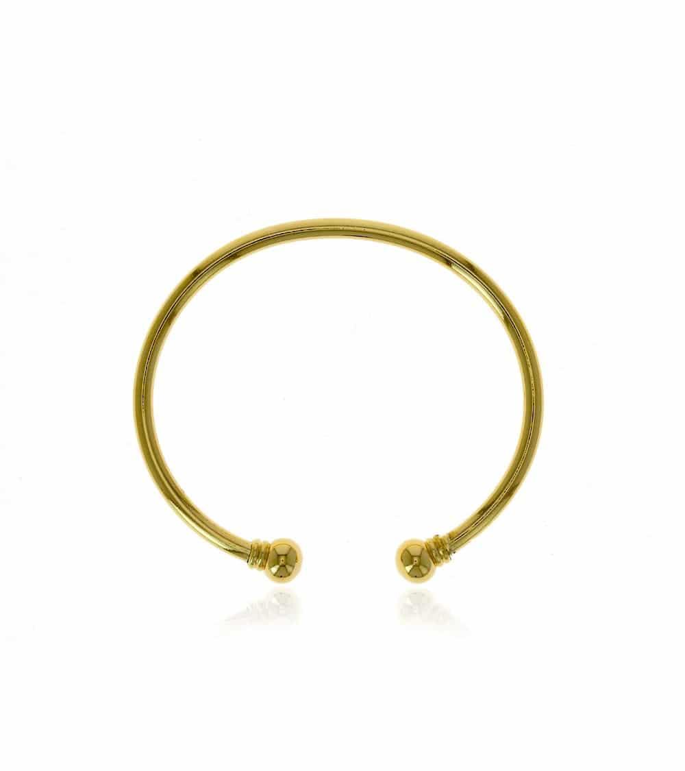 Bracelet rigide ouvert en plaqué or avec à chaque extrémité 1 boule