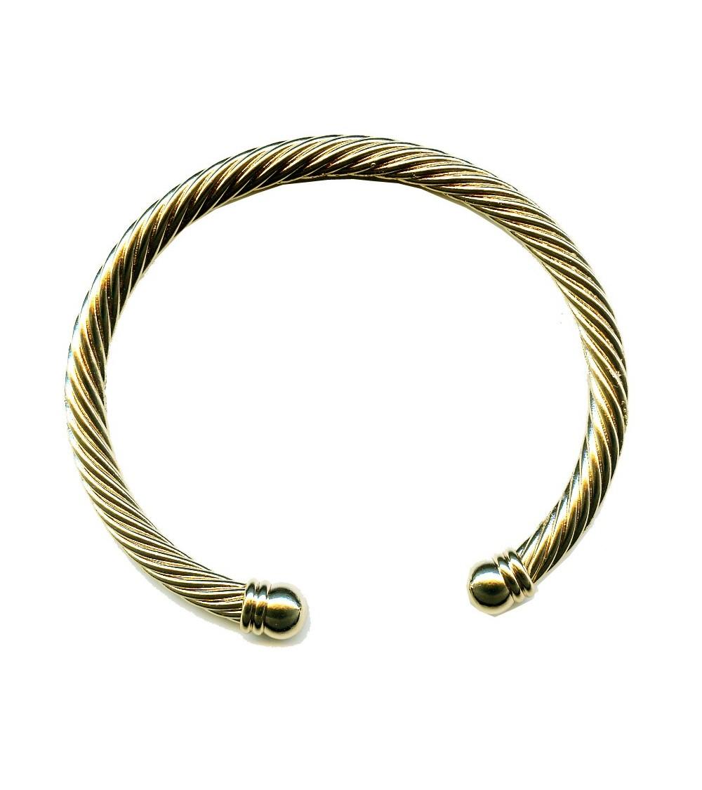 Bracelet rigide ouvert torsadé en plaqué or avec à chaque extrémité une boule